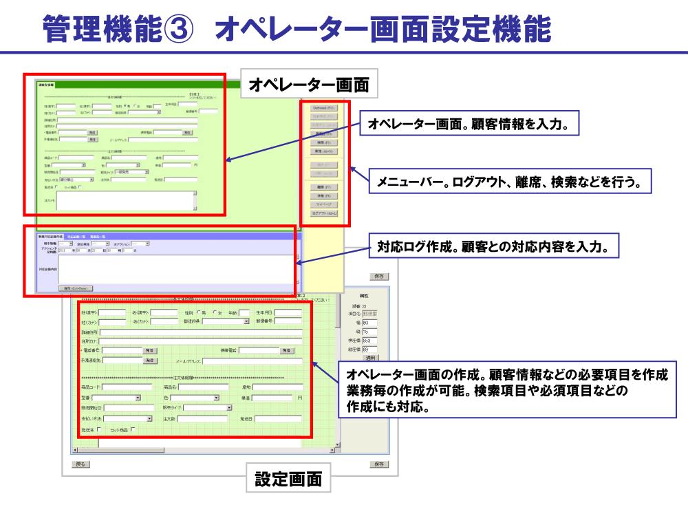 BlueBeanの管理機能:オペレーター画面設定機能