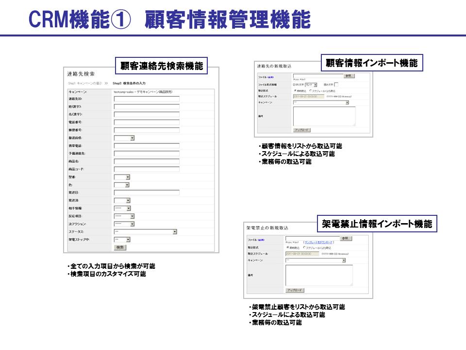 BlueBeanのCRM機能:顧客情報管理機能
